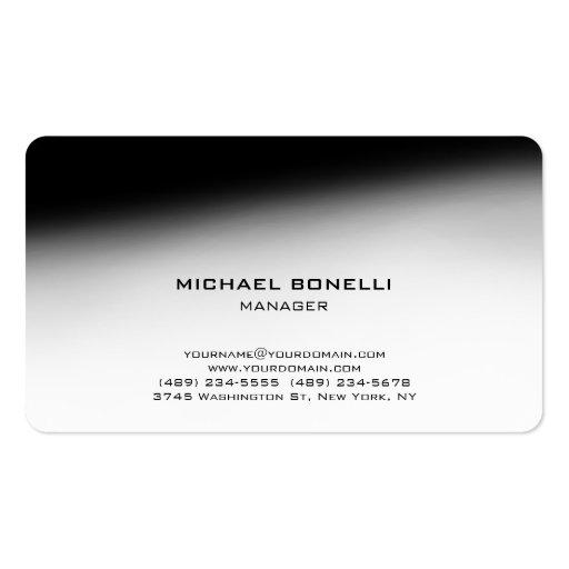 Cartão de visita à moda preto cinzento do canto ar