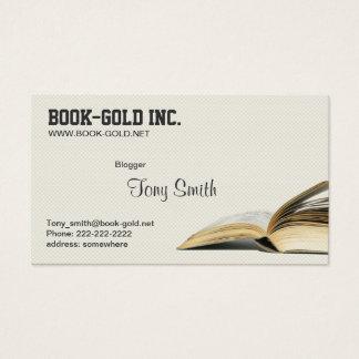 Cartão de visita aberto do Blogger do livro