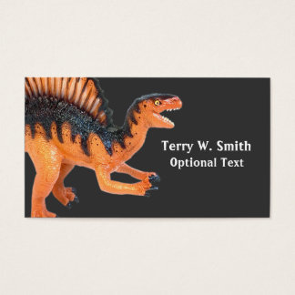 Cartão de visita alaranjado do dinossauro