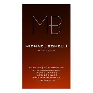 Cartão de visita alaranjado marrom vertical do mon