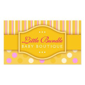Cartão de visita amarelo do boutique do bebê da