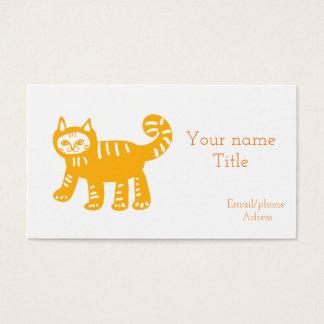 Cartão de visita amarelo do gato