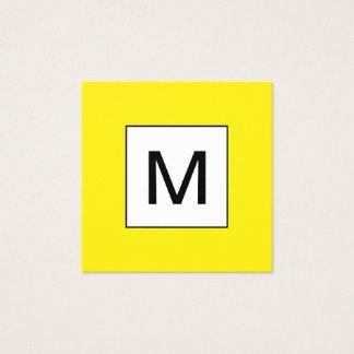 Cartão de visita amarelo minimalista do monograma