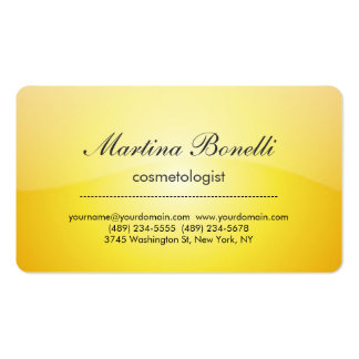 Cartão de visita amarelo original do cosmetologist