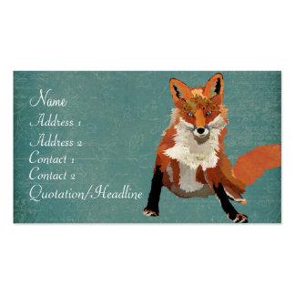 Cartão de visita ambarino do Fox do vintage