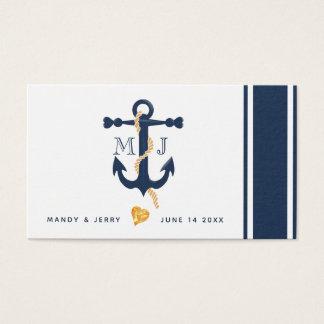 Cartão de visita âncora-náutico azul do casamento