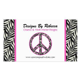 Cartão de visita aparado rosa do sinal de paz da z