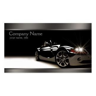 Cartão de visita automotriz preto à moda