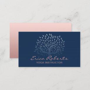Cartão De Visita Azuis marinhos cor-de-rosa do ouro da árvore do