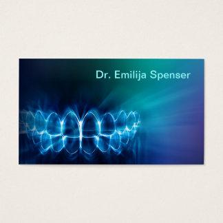 Cartão de visita azul cintilante do sorriso dos
