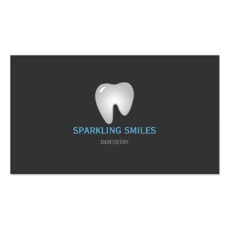 Cartão de visita azul cinzento simples do dentista