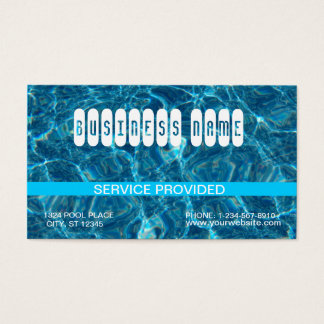 Cartão de visita azul claro da piscina