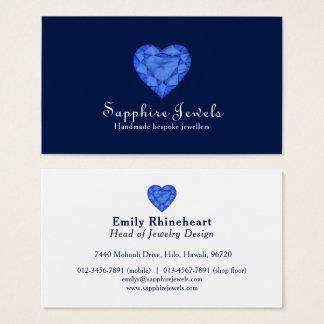 Cartão de visita azul da jóia da jóia do coração