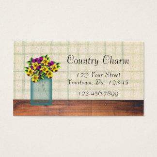 Cartão de visita azul das violas do frasco de