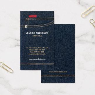Cartão de visita azul de jeans da sarja de Nimes