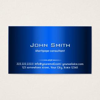 Cartão de visita azul do agente da hipoteca do