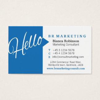 Cartão de visita azul & do branco olá! do discurso
