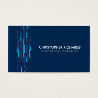 Cartão de visita azul do eletricista das luzes