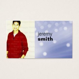 Cartão de visita azul do Headshot do fulgor