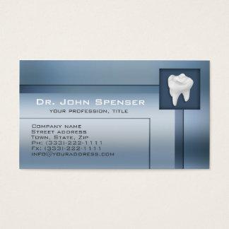 Cartão de visita azul do metal do Orthodontist
