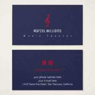 cartão de visita azul do músico com nota musical