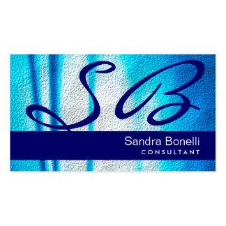 Cartão de visita azul do profissional do monograma