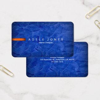 Cartão de visita azul e alaranjado elegante de