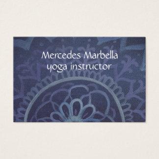 Cartão de visita azul elegante da mandala do