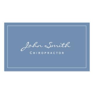 Cartão de visita azul liso simples do Chiropractor