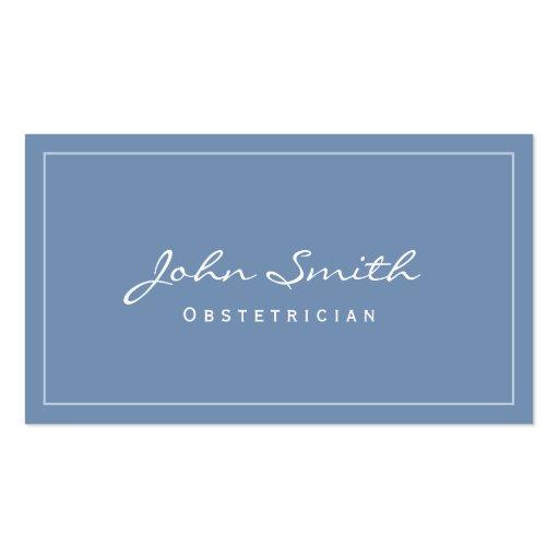 Cartão de visita azul liso simples do ginecologist