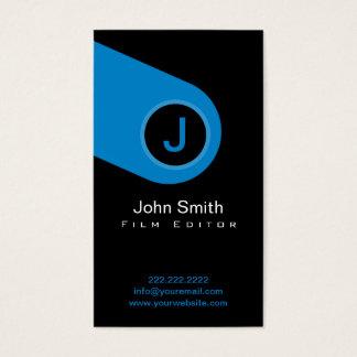 Cartão de visita azul moderno do editor do filme