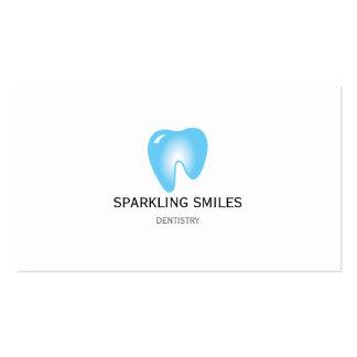 Cartão de visita azul simples do dentista
