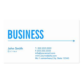 Cartão de visita azul simples do motorista da seta