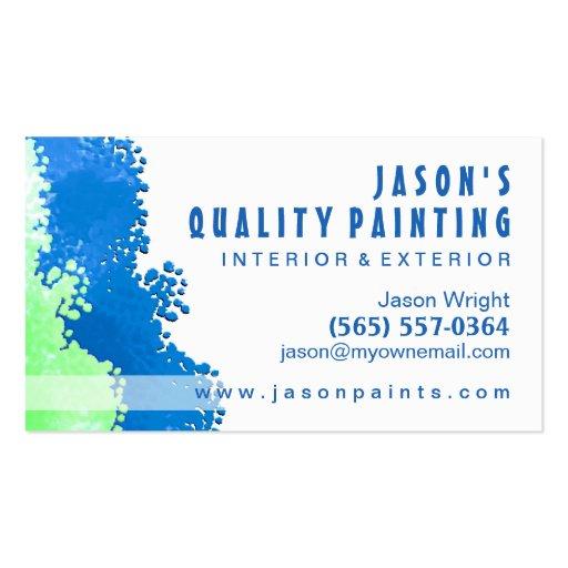 Cartão de visita azul & verde do pintor