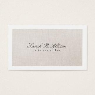 Cartão de visita bege elegante de linho do falso
