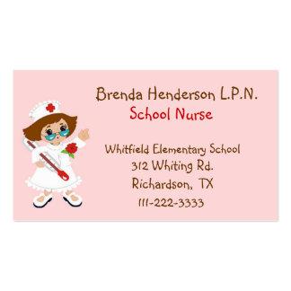 Cartão de visita bonito da enfermeira da escola