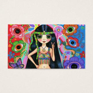 Cartão de visita bonito da menina do Hippie do