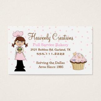 Cartão de visita bonito do cupcake da padaria do