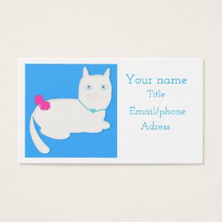 Cartão de visita bonito do gato dos olhos azuis