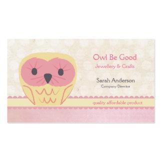 Cartão de visita bonito do rosa do chique da coruj