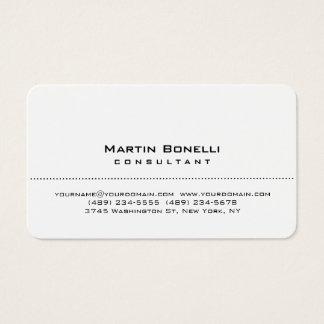 Cartão de visita branco do consultante do canto