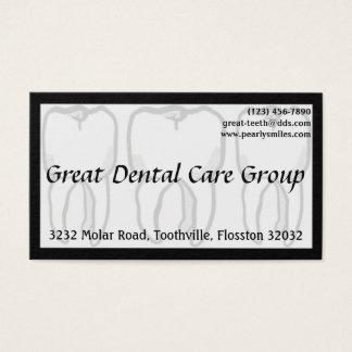 Cartão de visita branco do dentista de três dentes
