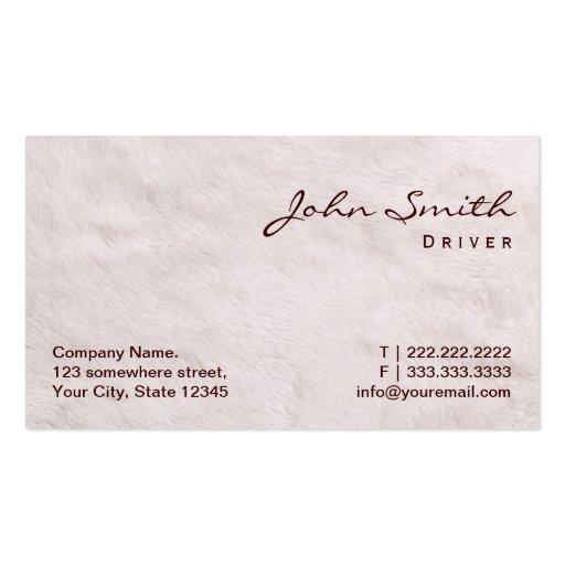 Cartão de visita branco do motorista da textura da
