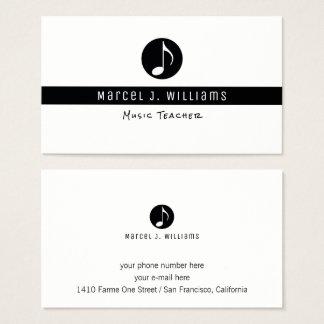 cartão de visita branco do músico com nota da