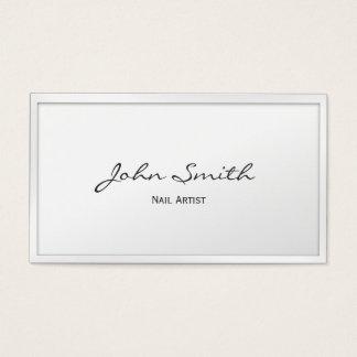 Cartão de visita branco elegante da arte do prego