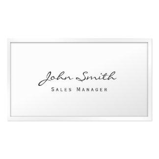Cartão de visita branco elegante do gerente de ven