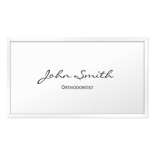 Cartão de visita branco elegante do Orthodontist d