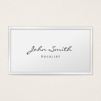 Cartão de visita branco elegante do vocalista da