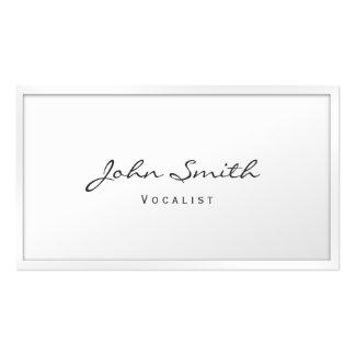 Cartão de visita branco elegante do vocalista da b