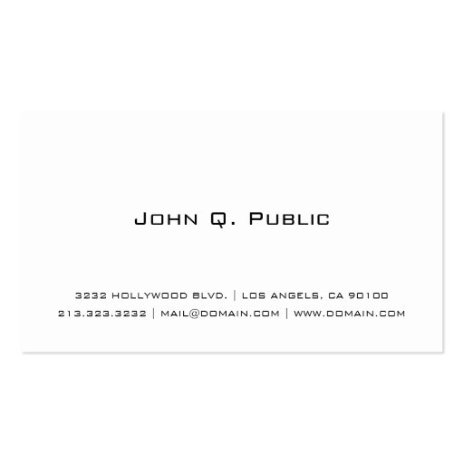 Cartão de visita branco liso